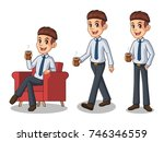 set of businessman in shirt... | Shutterstock .eps vector #746346559