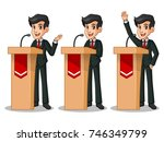 set of businessman in black... | Shutterstock .eps vector #746349799