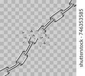 realistic broken steel chain... | Shutterstock .eps vector #746353585