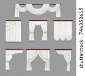 white curtains drapery for... | Shutterstock .eps vector #746353615