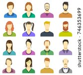 male and female faces vector... | Shutterstock .eps vector #746353699