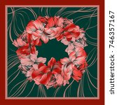 colorful silk scarf with... | Shutterstock .eps vector #746357167