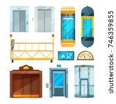 set of different modern glass... | Shutterstock .eps vector #746359855