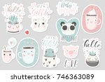 Stock vector  stickers with cute animals cups and plants with hand drawn lettering vector pins design 746363089