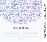 social media concept with thin... | Shutterstock .eps vector #746365969