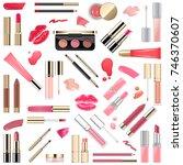 vector lips makeup cosmetics | Shutterstock .eps vector #746370607