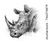 face painted rhinoceros animal... | Shutterstock . vector #746374879