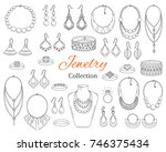 fashionable  jewelry collection ... | Shutterstock .eps vector #746375434