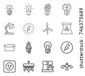 thin line icon set   bulb ... | Shutterstock .eps vector #746375689