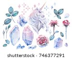 cute watercolor design with... | Shutterstock . vector #746377291