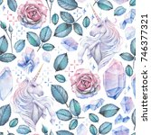 cute watercolor design with... | Shutterstock . vector #746377321