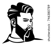 beard man and haircut. icon... | Shutterstock .eps vector #746380789