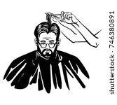 haircuts process. man with a... | Shutterstock .eps vector #746380891