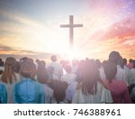christians prayed together... | Shutterstock . vector #746388961