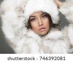 fashion studio portrait of... | Shutterstock . vector #746392081