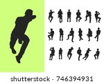 silhouettes of sitting people ... | Shutterstock .eps vector #746394931