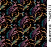 embroidery baroque seamless... | Shutterstock .eps vector #746398375