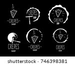 hand drawn logos of crepes... | Shutterstock .eps vector #746398381