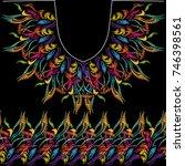 vintage neckline floral... | Shutterstock .eps vector #746398561