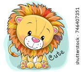 Stock vector cute cartoon lion on a blue background 746407351