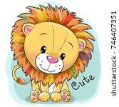 cute cartoon lion on a blue...   Shutterstock .eps vector #746407351