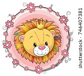 Stock vector greeting card cute cartoon lion with flowers 746407381