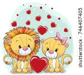 two cute lions with hearts on a ... | Shutterstock .eps vector #746407405