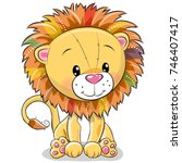 Stock vector cute cartoon lion isolated on a white background 746407417