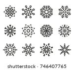 set of snowflakes 1. vector... | Shutterstock .eps vector #746407765