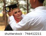 portrait of handsome and... | Shutterstock . vector #746412211