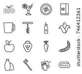 thin line icon set   bio ... | Shutterstock .eps vector #746412361