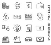 Thin Line Icon Set   Coin Stac...