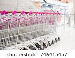 Row of trolley in the shopping mall