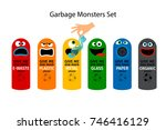 garbage cans for kids with... | Shutterstock .eps vector #746416129