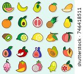 fruits stickers on blue... | Shutterstock .eps vector #746418511