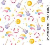 musical instruments seamless... | Shutterstock .eps vector #746418874