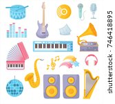 a set of musical instruments.... | Shutterstock .eps vector #746418895