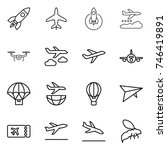 thin line icon set   rocket ... | Shutterstock .eps vector #746419891