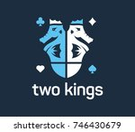 two vector seahorses as kings... | Shutterstock .eps vector #746430679