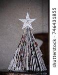 paper christmas tree in living...   Shutterstock . vector #746431855