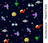 seamless space pattern with...   Shutterstock .eps vector #746437435