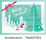 christmas card concept and... | Shutterstock .eps vector #746437501