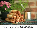 homemade rolls with condensed... | Shutterstock . vector #746438164