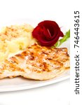 grilled chicken breast with... | Shutterstock . vector #746443615