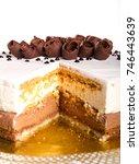 caramel and vanilla cream cake | Shutterstock . vector #746443639