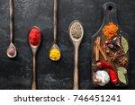 cutting board with seasonings... | Shutterstock . vector #746451241