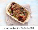 meat in mustard sauce. | Shutterstock . vector #746454331