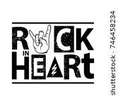 rock poster. rock in heart sign.... | Shutterstock .eps vector #746458234