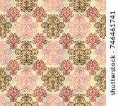 floral pattern curves leaves...   Shutterstock .eps vector #746461741