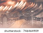 double exposure of city and... | Shutterstock . vector #746464909